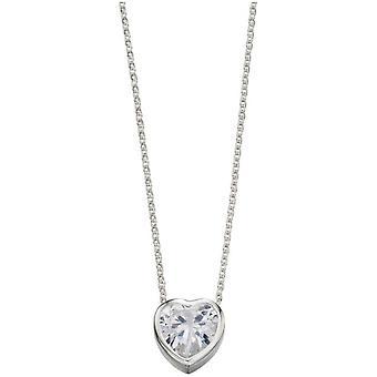 Commencements zircon cubique collier coeur - argent/transparent