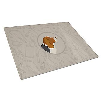 Basset Hound In the Kitchen Glass Cutting Board Large
