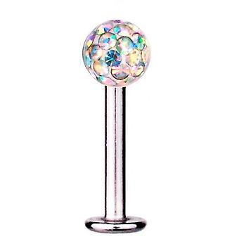 Labret Bar Tragus Piercing Titan 1,6 mm, Multi Kristallkugel Aurora Borealis