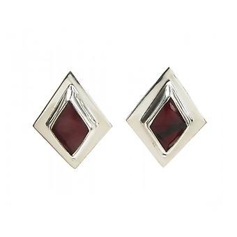 Cavendish Französisch Sterling Silber und bildeten Red Jasper Diamantförmig Ohrringe