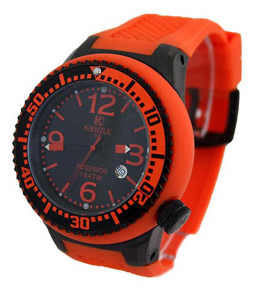 Waooh - visar Kienzle 720 3057 - silikon - svart urtavla - black box - svart bezel armband