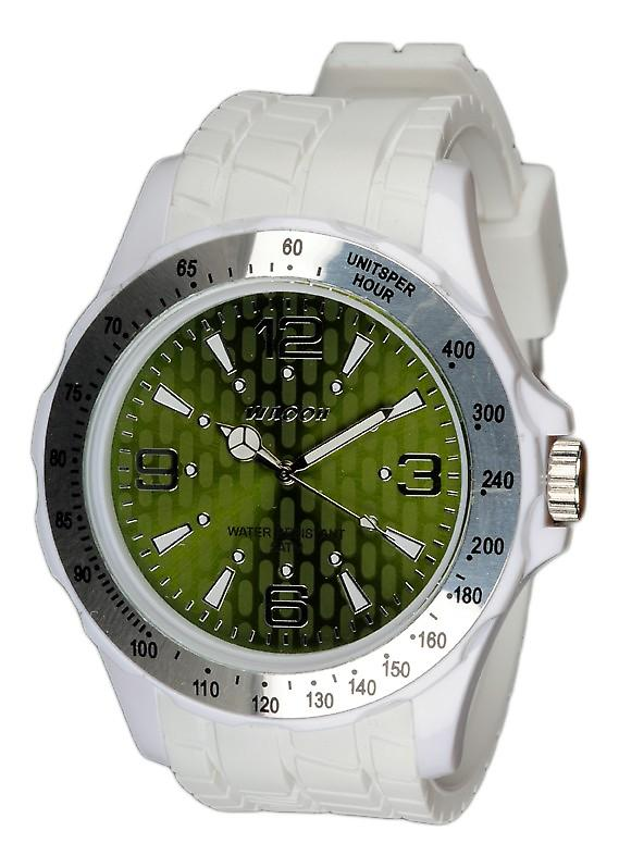 Waooh - White Silicone Watch With A Silver Bezel and Dial A Green Gpm48 Inspired From Monaco Grand Prix