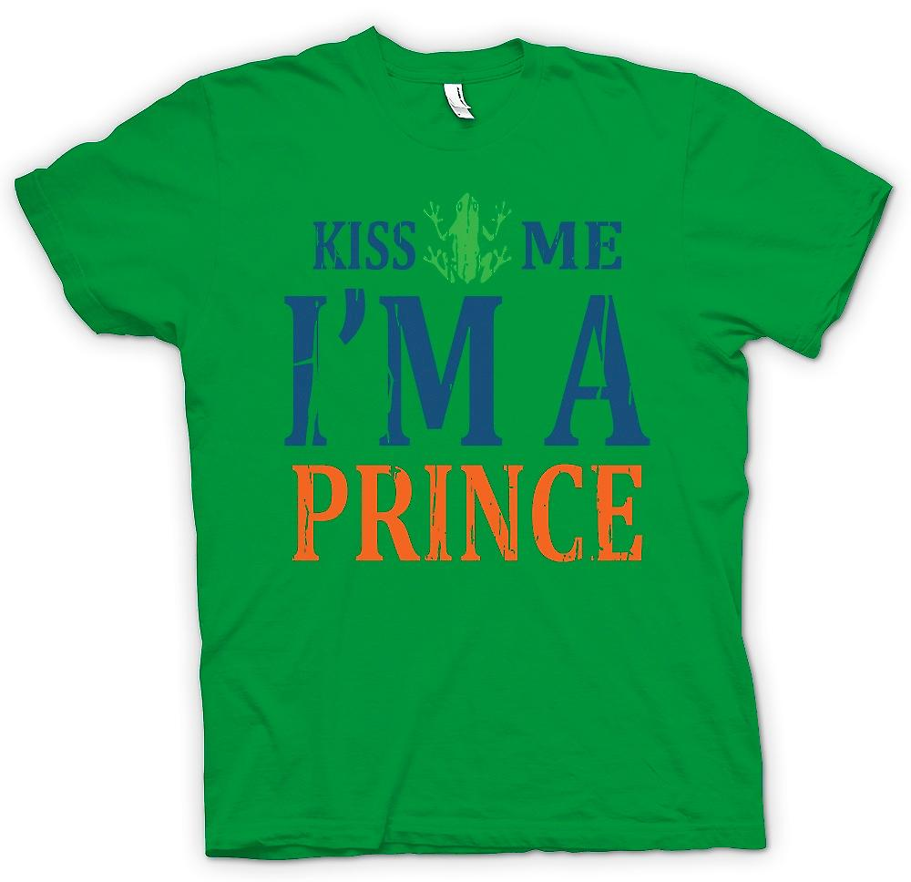 Mens T-shirt - Kiss Me Im A Prince - Funny