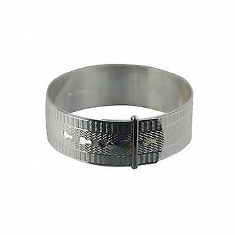 Silver 20mm wide engine turned Buckle Bangle