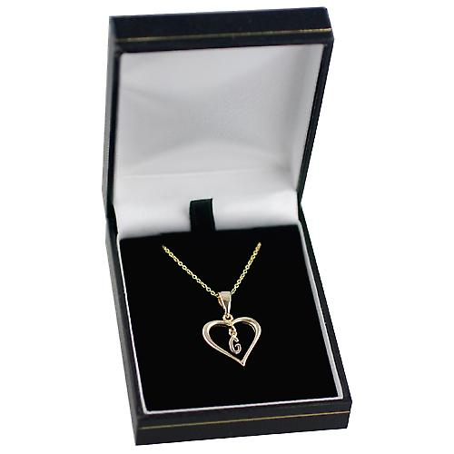 9ct Gold 18x18mm initial G in a heart with Cable link chain