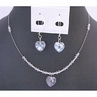 Clear Crystals Heart Pendant Earring Set Dainty Valentine Heart Gift