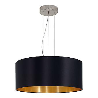 Eglo - Maserlo 3 colgante con luz techo ligero satén del níquel negro EG31605