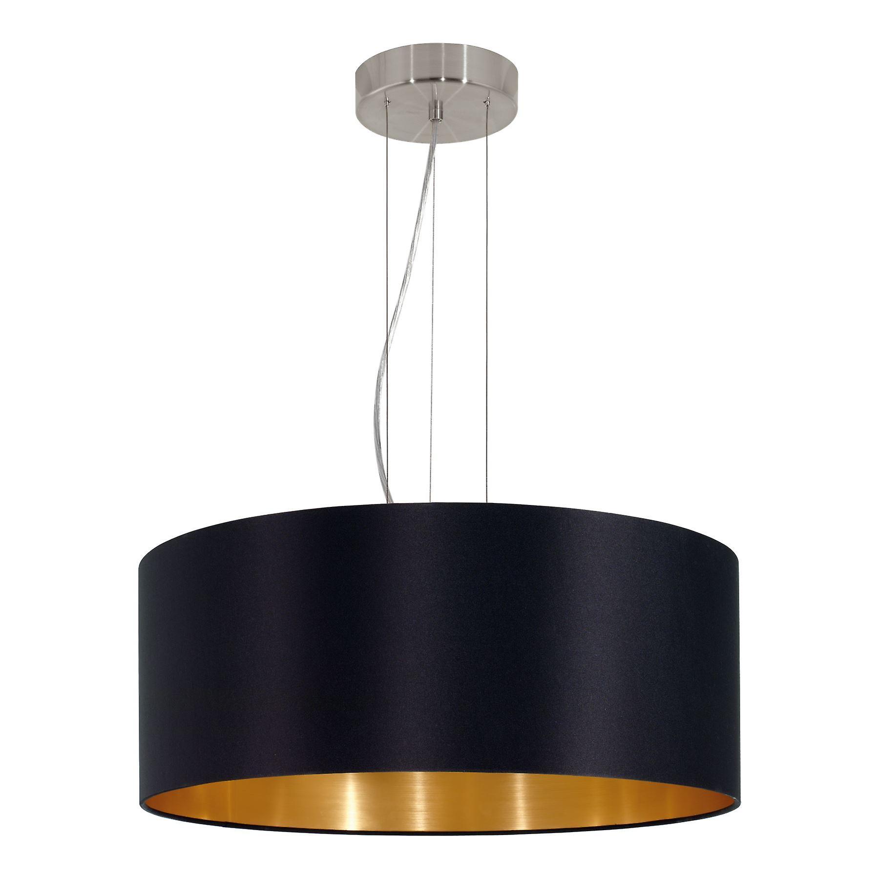 Eglo - Maserlo 3 lumière pendentif Ceiling lumière Satin Nickel noir EG31605