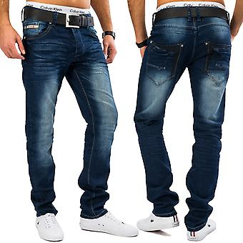 Mens Classic Jeans Stone Washed Denim Slim Fit Jeans Blue Stretchable