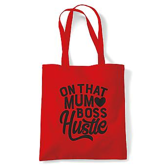 On That Mum Boss Hustle Funny Tote | Reusable Shopping Cotton Canvas Long Handled Natural Shopper Eco-Friendly Fashion | Gym Book Bag Birthday Present Gift Her | Multiple Colours Available