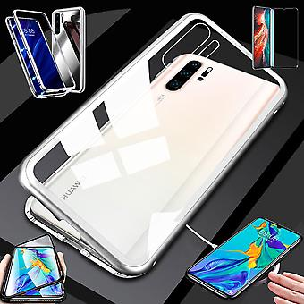 For Huawei P30 Pro magnet / metal / glass pouch case silver / transparent + 0.3 mm H9 4 d hard full curved tempered glass