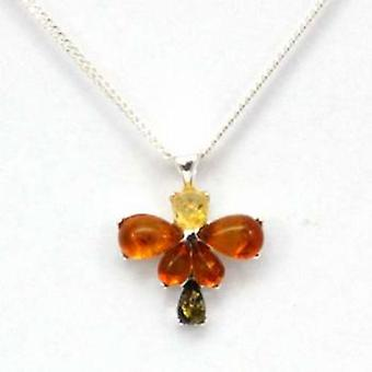 Toc Sterling Silver Butterfly Amber Pendant on 18 Inch Chain