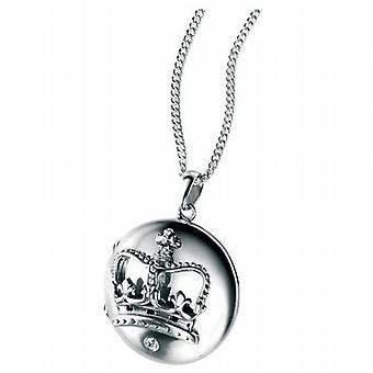 Elements Sterling Silver Crown Locket Pendant on 18 Inch Chain