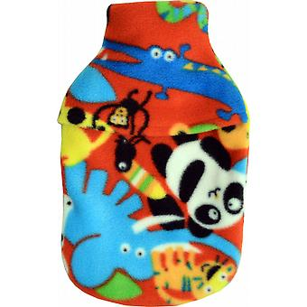 Cosy Fleece 1L Mini Hot Water Bottle & Cover: Cartoon Jungle
