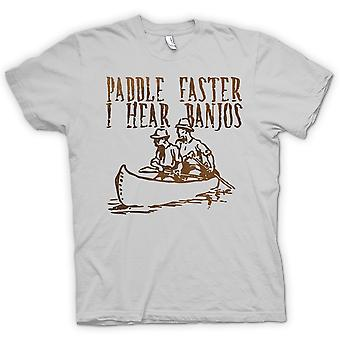 Mens T-shirt - Paddle Faster I Hear Banjos - Funny