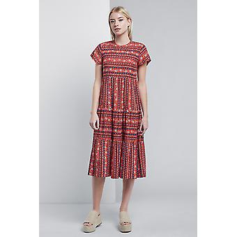 Louche Theoden Folkstripe Tiered Midi Dress Red