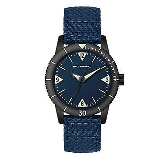 Morphic M85 Series Canvas-Overlaid Leather-Band Watch - Black/Blue