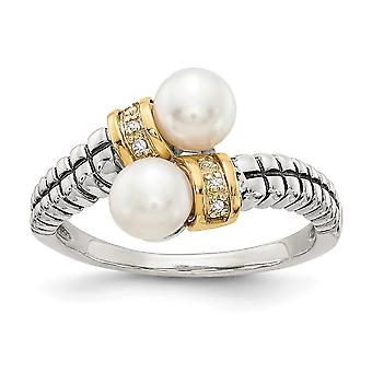 925 Sterling Silver Polished Prong set Antique finish With 14k Diamond and Freshwater Cultured Pearl Ring - Ring Size: 6