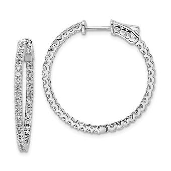 925 Sterling Silver Polished Hinged hoop Safety clasp Rhodium-plated Rhodium Plated Cubic Zirconia In and Out Hoop Earri