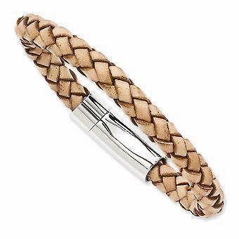 Edelstahl Fass poliertem Light Tan Leder 8,5 Zoll Armband