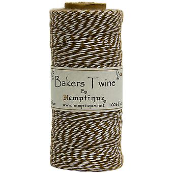 Hemptique Cotton Bakers Twine Spool 2 Ply 410 Feet Pkg Light Brown White Bts2 9303