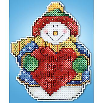 Schneemann Ornament Plastik Canvas Kit 14 Count Dw565
