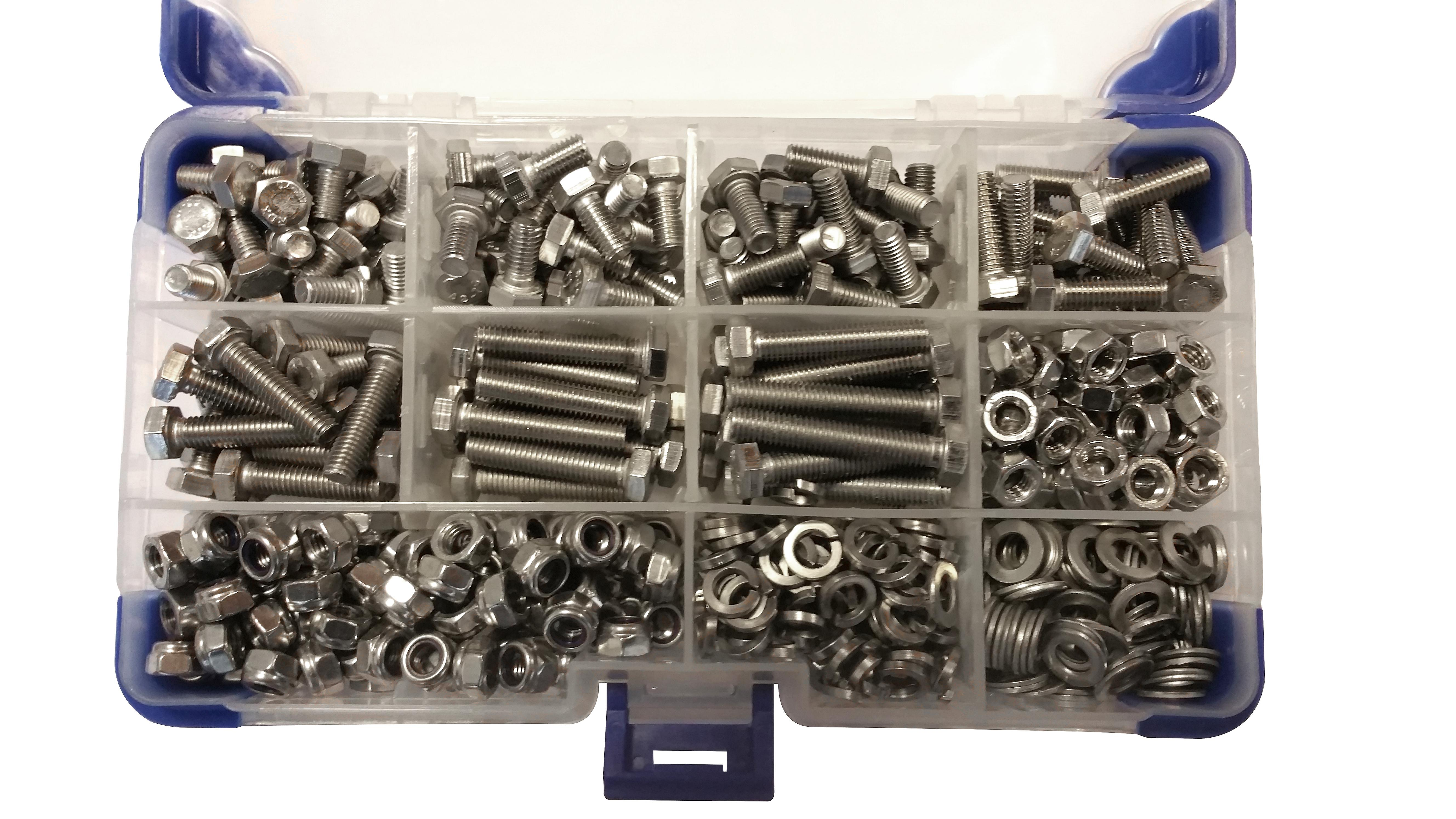 615 Piece M4 Zinc Plated Hex Setscrews with Nuts and Washers