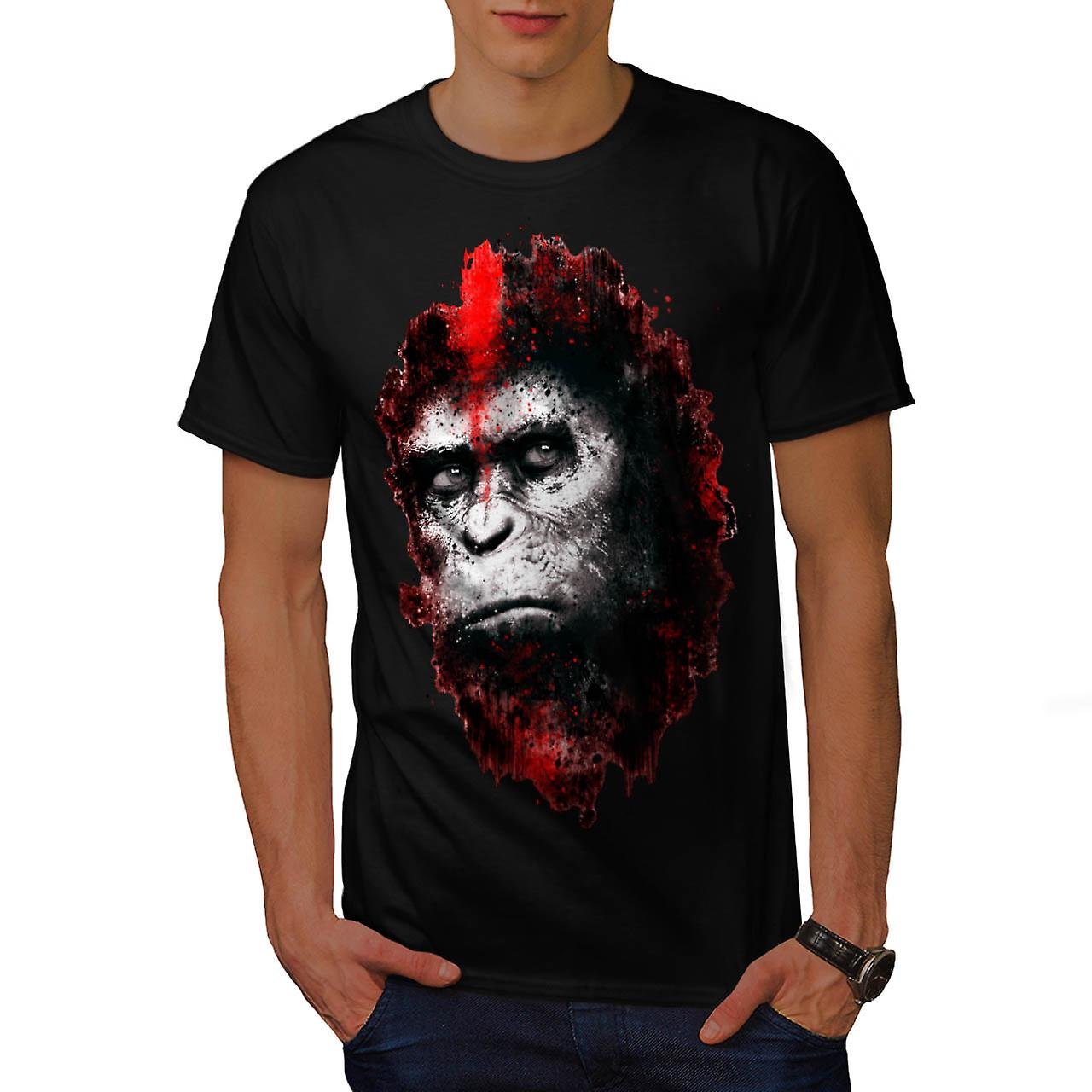 Face Of Apes Print Angry Planet Men Black T-shirt   Wellcoda