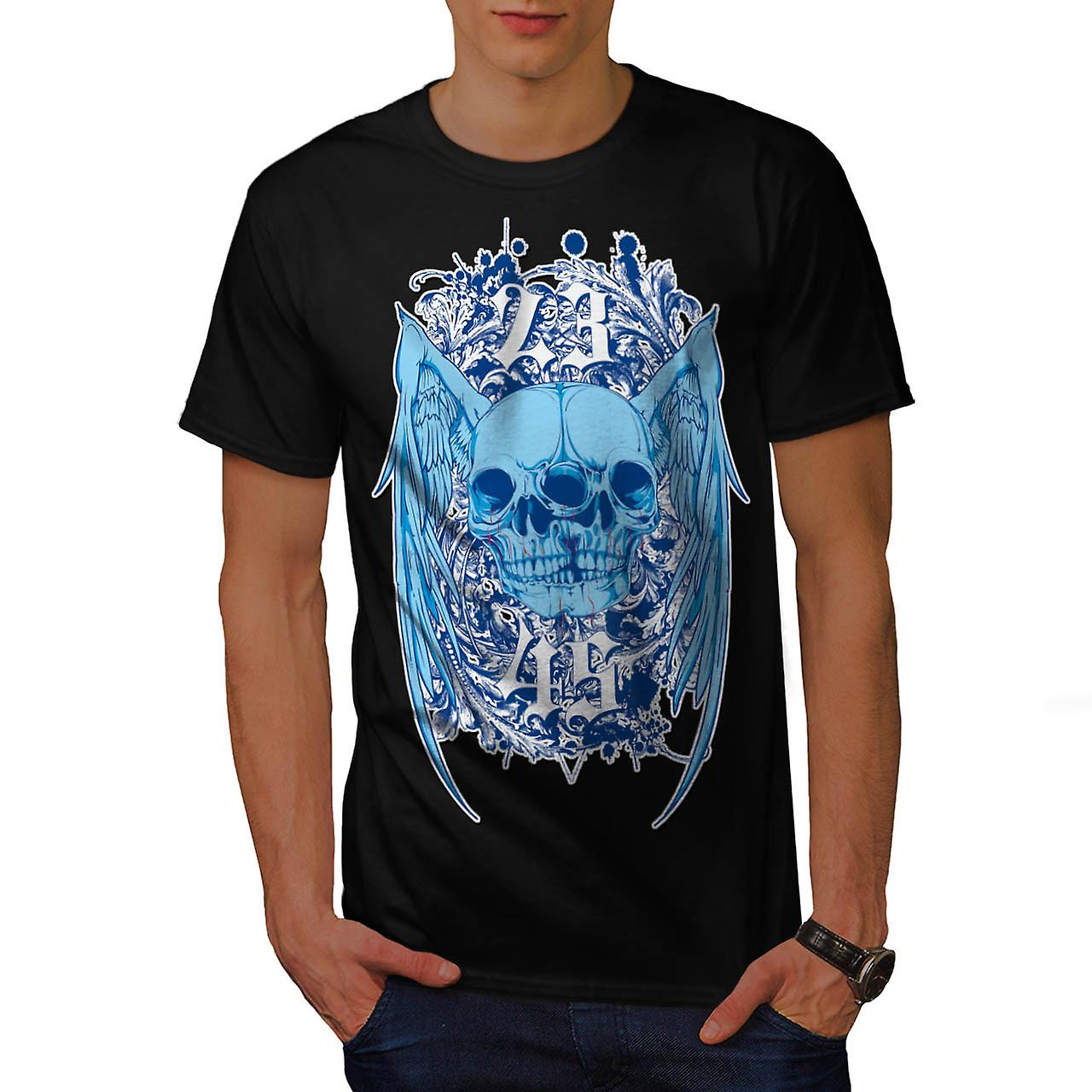 Double Skull Ghost Joint Monster Men Black T-shirt | Wellcoda