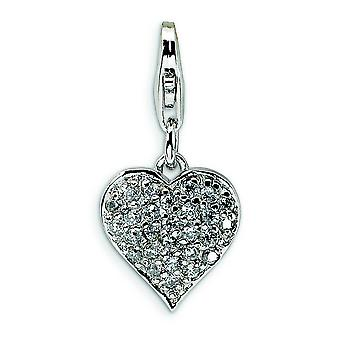 Sterling Silver Solid Reversible Rhodium-plated Fancy Lobster Closure 3-D Cubic Zirconia and Red Enamel Heart With Lobst