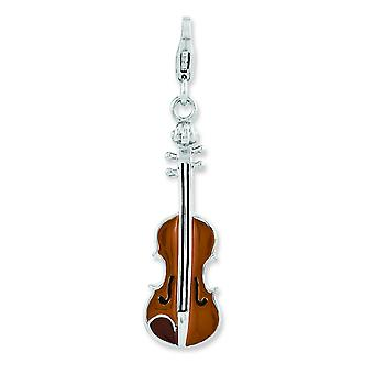 Sterling Silver Enameled 3-d Viola With Lobster Clasp Charm - 2.4 Grams