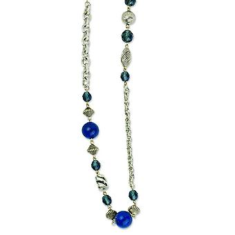 Silver-tone Blue Bead and Crystal 44inch Necklace