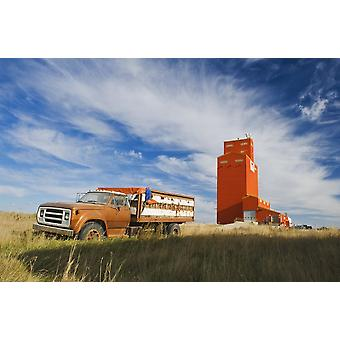 Old Farm Truck And Grain Elevator Stoughton Saskatchewan Canada PosterPrint