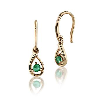 Gemondo 9ct Yellow Gold 0.12ct Single Stone Emerald Drop Earrings
