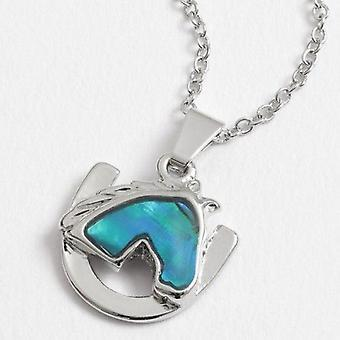 Inlaid Paua Shell Horse Head & Horseshoe Necklace