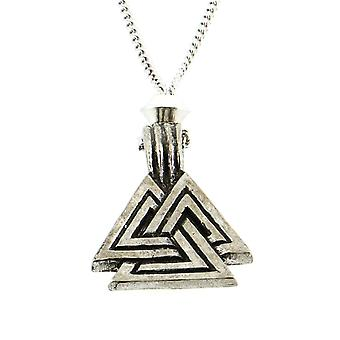 Handmade Norse Viking Double Valknut Knot Pewter Pendant ~ 18+4 inch extender Chain