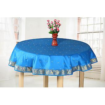 Blaues Gold - handgemachte Sari Tischdecke (Indien) - Runde