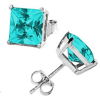 Ear Studs Earrings 925 Sterling Silver, Square Aquamarine Stones,Jewellery | 3-8 mm