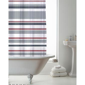 Country Club Shower Curtain Stripe Pink and Grey 180 x 180cm