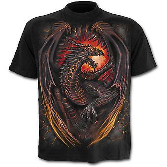 Spiraal-Dragon Furnace-mannen korte mouw t-shirt, zwart