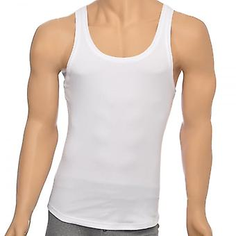 DSQUARED2 Rib Cotton Stretch Tank Top, White, Small