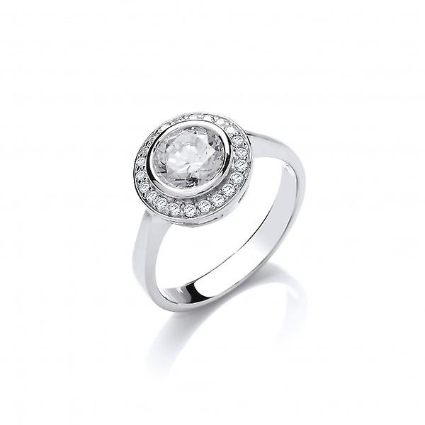 Cavendish French Sterling Silver CZ Surround Solitaire Ring