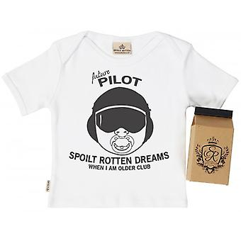 Spoilt Rotten SR Dreams Future Pilot Baby T-Shirt 100% Organic Cotton
