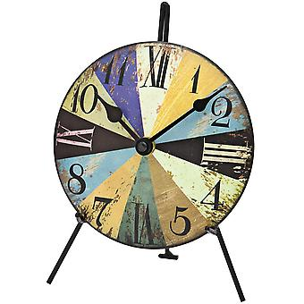 AMS table clock analogue shabby stained metal dial 15 cm