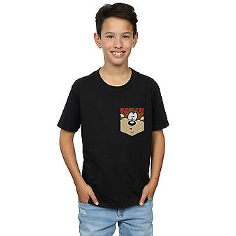 Looney Tunes Boys Tasmanian Devil Face Faux Pocket T-Shirt