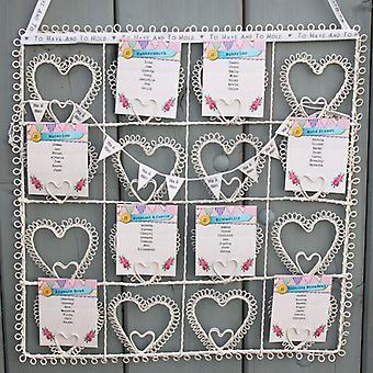 Vintage Style Cream Square Heart Wedding Table Plan / Photo Holder