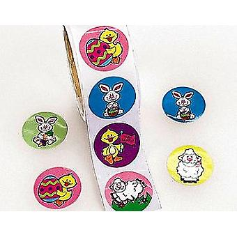 Roll of 100 Bunny & Chick Easter Stickers for Kids | Childrens Craft Stickers