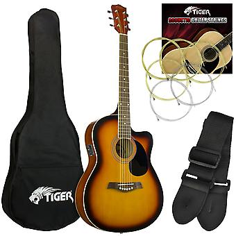 Tiger Electro Acoustic Guitar Package for Beginners - Sunburst