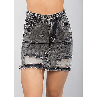 Extreme Ripped Mini Bodycon Denim Skirt Grey