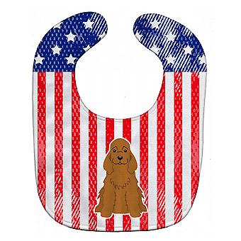 Carolines Treasures  BB3090BIB Patriotic USA Cocker Spaniel Red Baby Bib